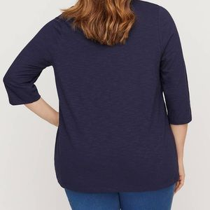 Catherines Tops - Catherines 4X Dark Blue 3/4-Sleeve Tunic Tee Top